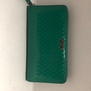 Kate spade green patent leather wallet,  used